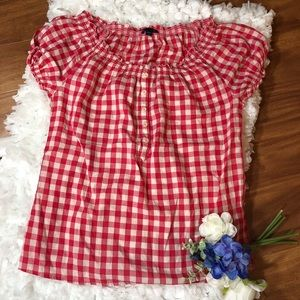 GAP Red Gingham Cotton Top